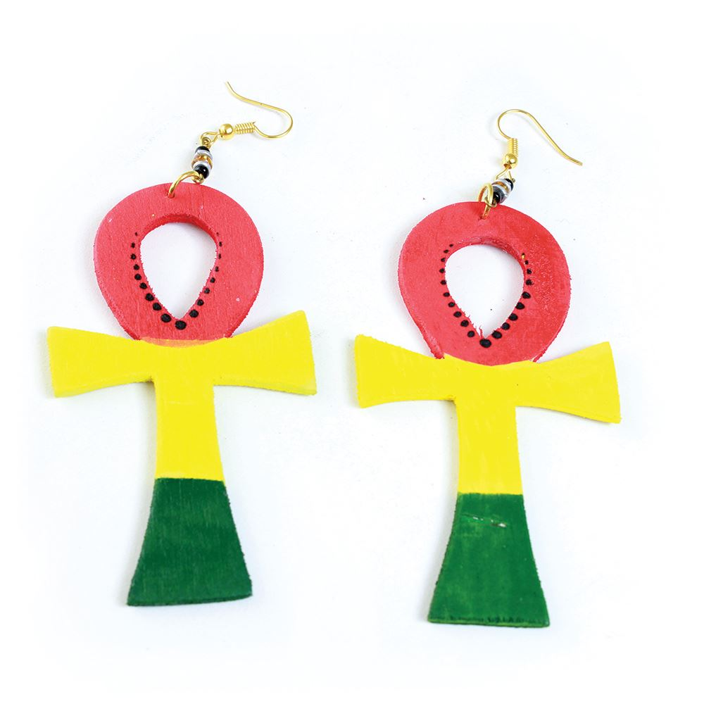 Oversized Wooden Ankh Earrings