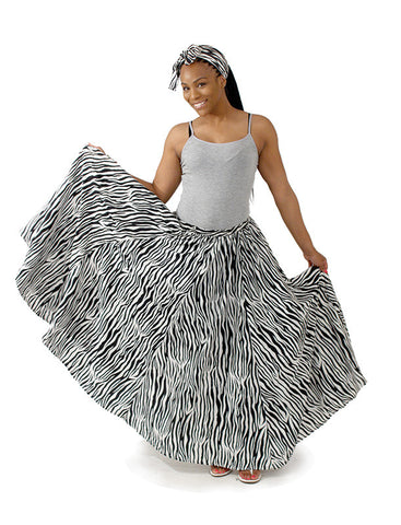 Zebra Print Flared Maxi Skirt