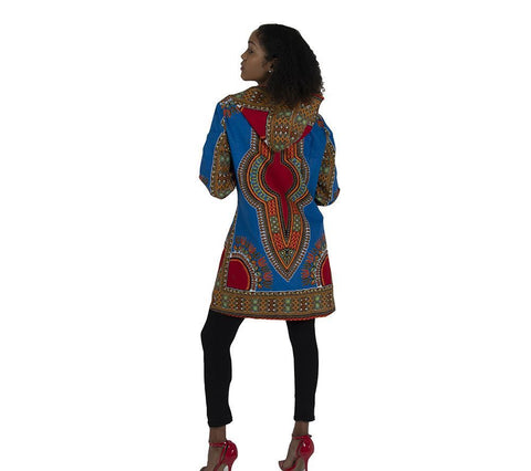 Ladies Traditional Print Zippered Dashiki Hoodie