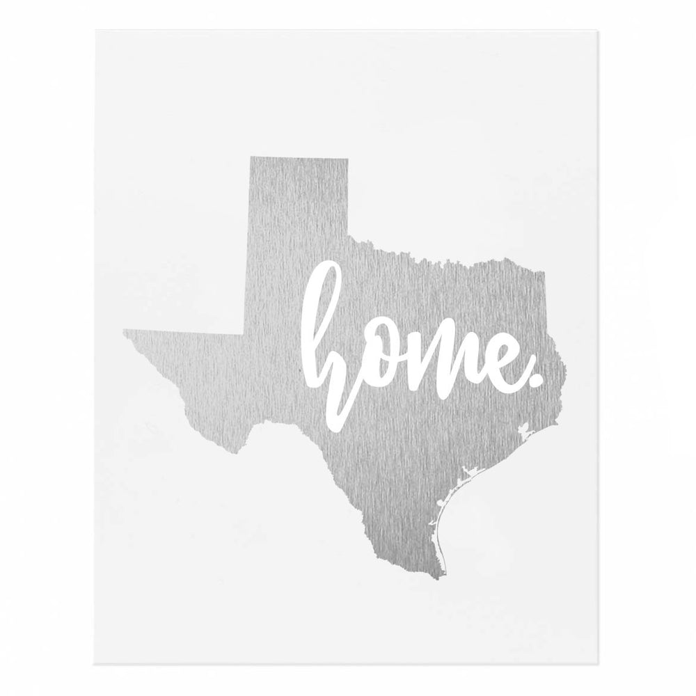 Texas State Home Gold Foil Print