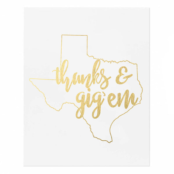 Thanks & Gig'em Texas Outline Gold Foil Print