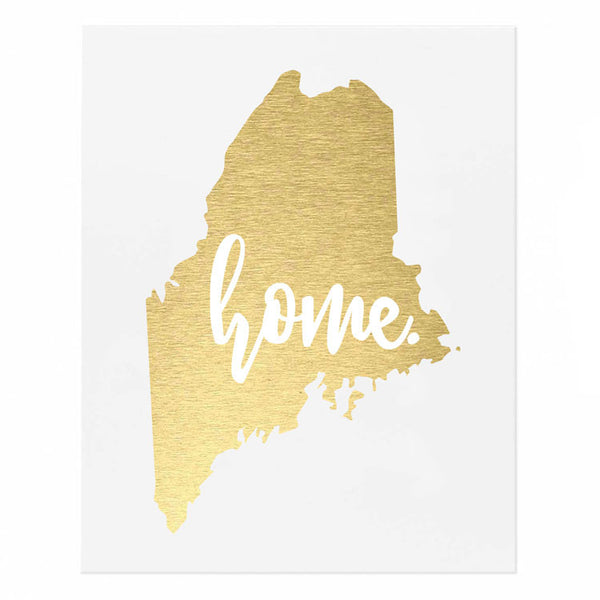 Maine State Home Gold Foil Print