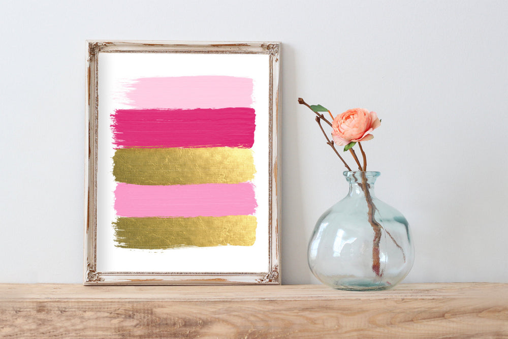 Pink and Gold Paint Strokes Abstract