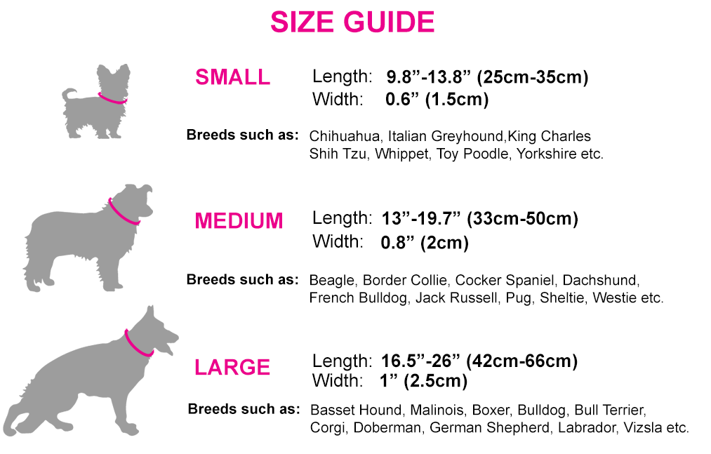 Tail Trip Designer dog collars size chart