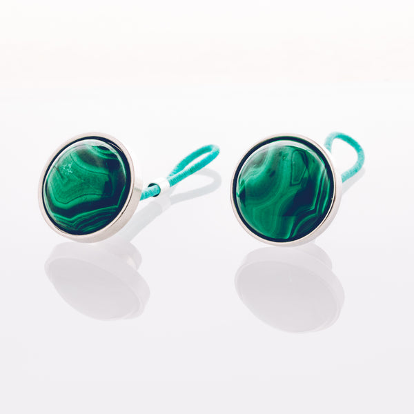 Malachite Stone // Stainless Steel Cufflinks