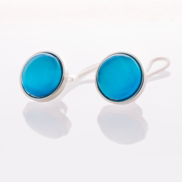 Aquamarine Cat's Eye - Stainless Steel Cufflink