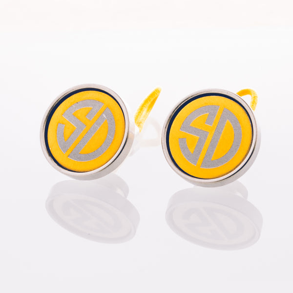 Engraved Gold Anodized Aluminum - Stainless Cufflink