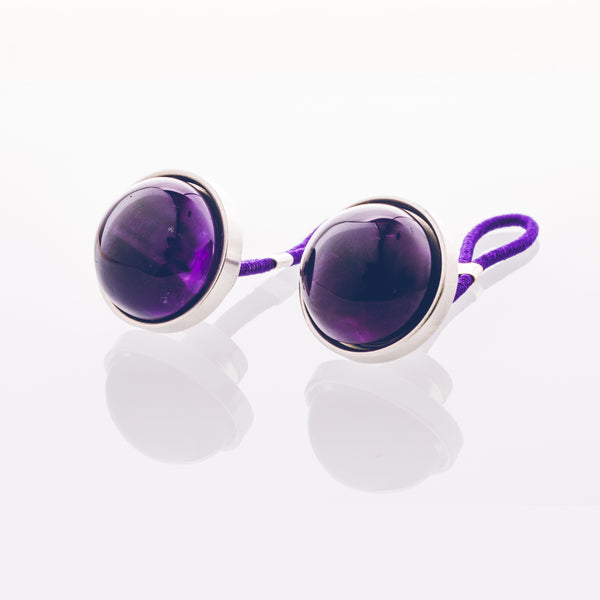 Purple Amethyst - Stainless Steel Cufflink