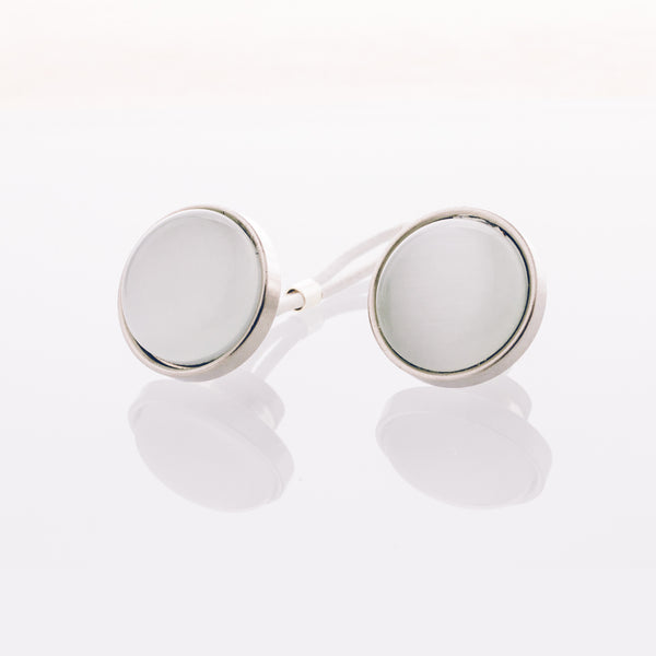 White Cat's Eye - Stainless Steel Cufflink