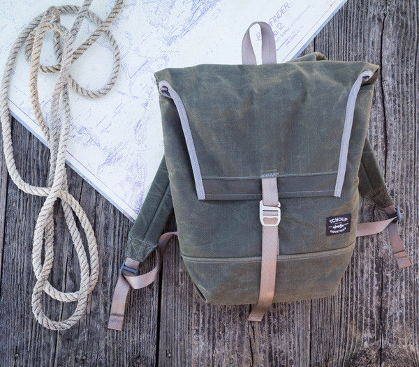 Olive Waxed Canvas Flap Pack