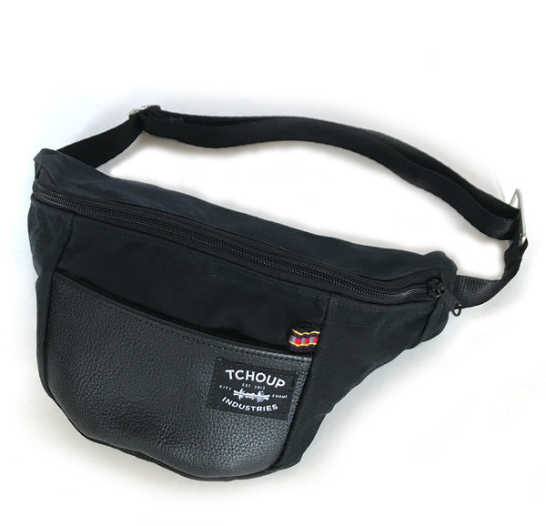 Fanny Pack Black w/ Leather Panel