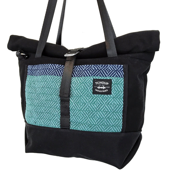 Travel Tote Black w/ Colorblock Woven