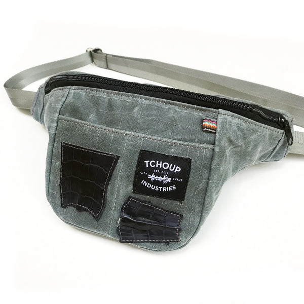 Fanny Pack Charcoal w/ Alligator Leather