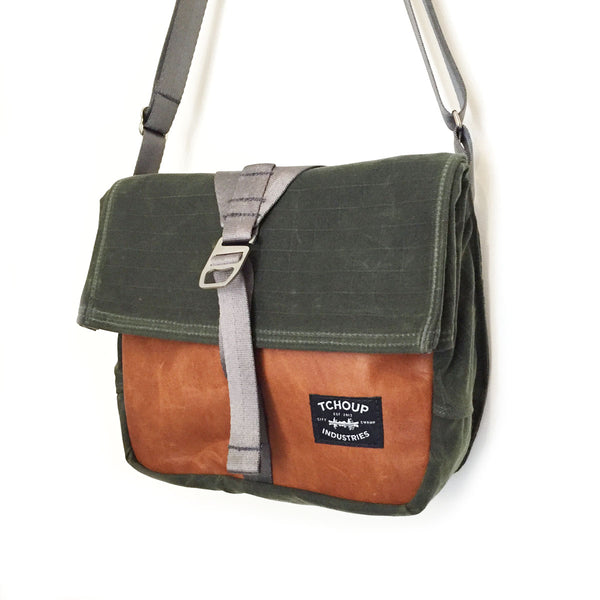 Roulez Satchel Olive w/ Peanut Butter Leather