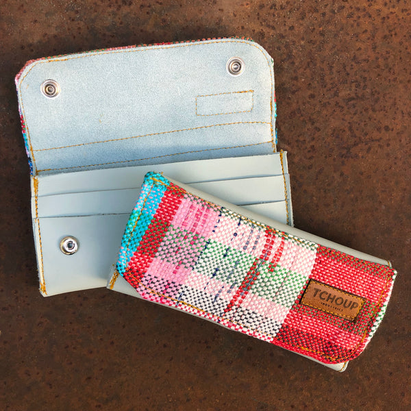 Leather Clutch Wallet w/ Raphael Woven