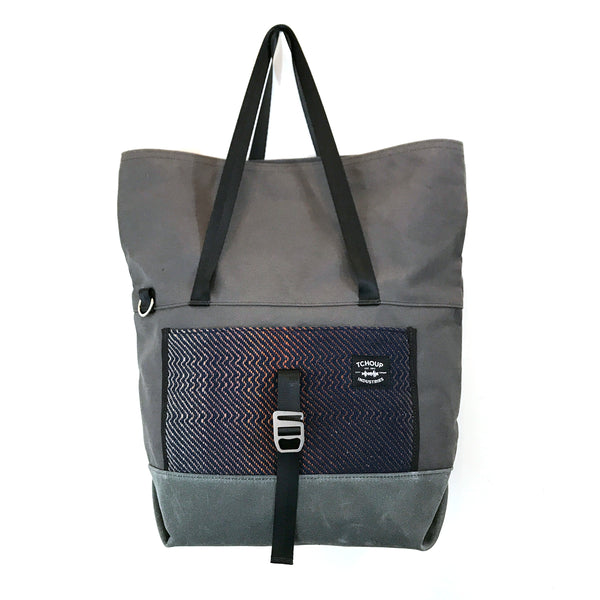 Travel Tote Charcoal w/ Orange Moon Woven