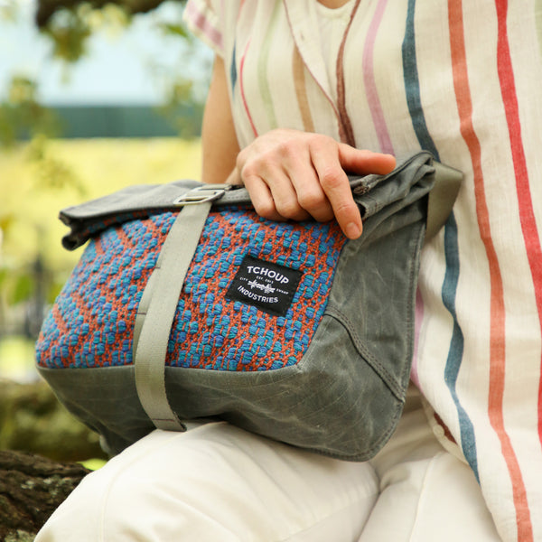 Roulez Satchel Charcoal w/ Blue and Orange Crackle Woven