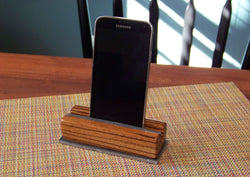 Zebrawood Phone Holder with Steel Base