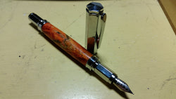 Red Buckeye Burl Fountain Pen with Chrome Hardware