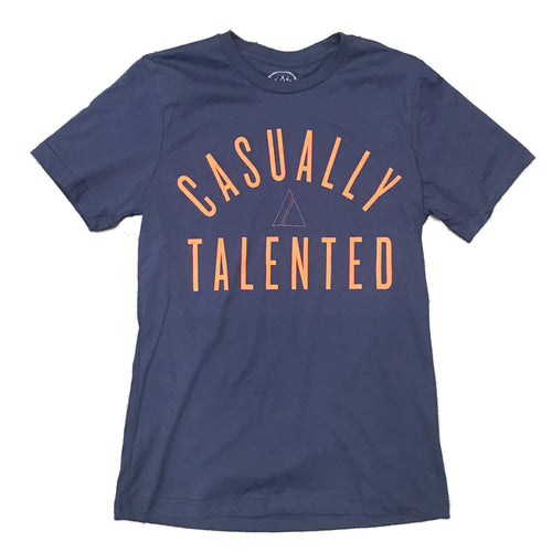 Casually Talented Tee - Navy/Orange