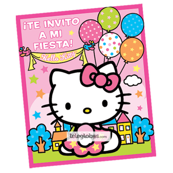 6 Invitaciones de Hello Kitty