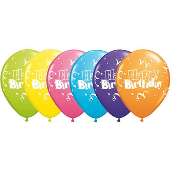 12 x Globos Látex 11 Birthday Serpentinas Estrellas Qualatex