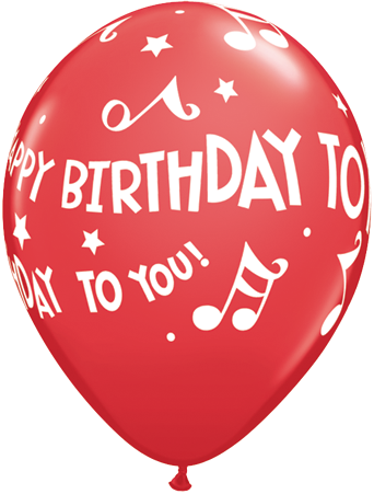12 x Globos Látex 11 Happy Birthday To You Notas Qualatex