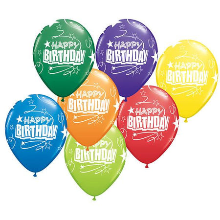 14 x Globos Látex 11 Birthday Rizos y Estrellas Surtido Qualatex