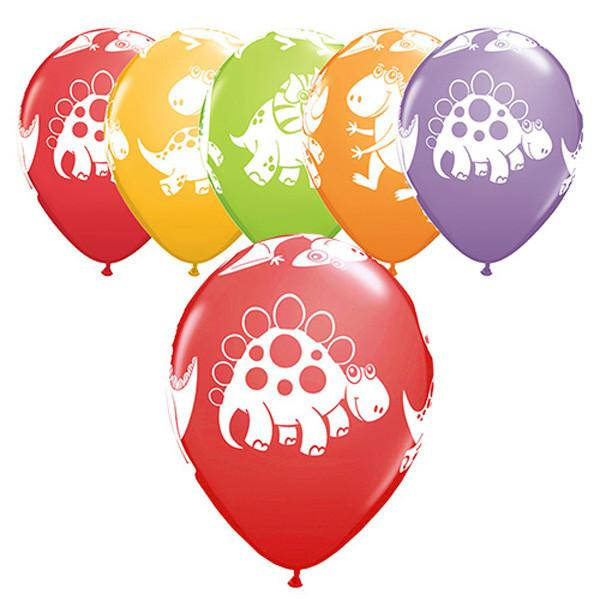 12 x Globos Látex 11 Adorables Dinosaurios Surtido Qualatex