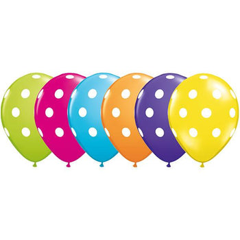 12 x Globos Látex 11 Lunares Polka Surtido Tropical Qualatex