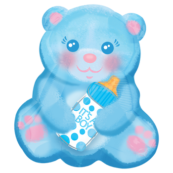 Baby Boy Bear With Bottle JuniorShape Globo Metálico