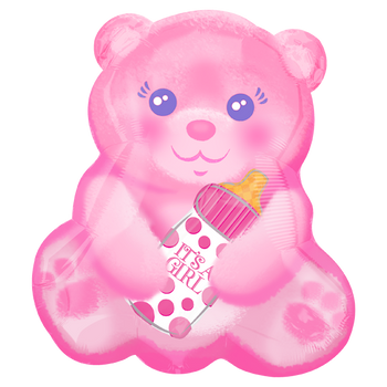 Baby Girl Bear With Bottle JuniorShape Globo Metálico