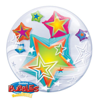 "Globo Burbuja Doble de 24"" Estrellas Multicolor Qualatex"