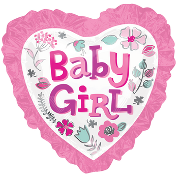 Baby Girl Corazon Floral SuperShape Globo Metálico