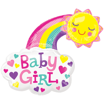 Baby Girl Bright Sol Feliz SuperShape Globo Metálico