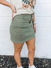 Harper Polka Dot Denim Skirt