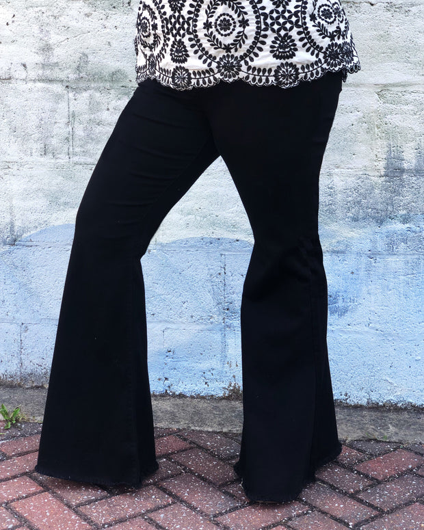 The High Waisted Black Super Flares