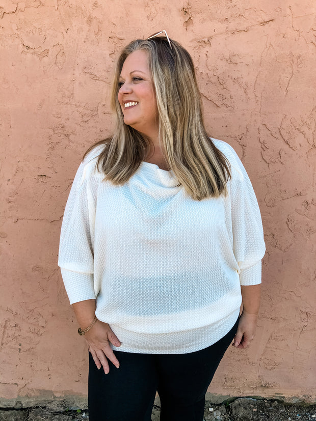Vanilla Wafer Batwing Sleeve Plus Top