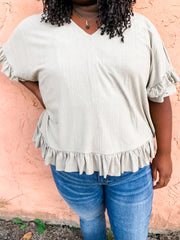 Sage Yourself Ruffle Trimmed Top