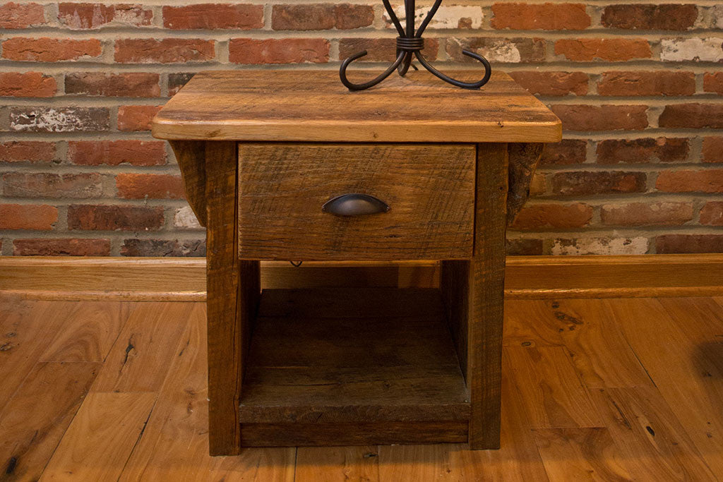 Reclaimed Wood End Table With Drawer
