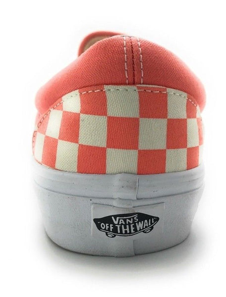 ... Vans Classic Slip On Canvas Sneakers Coral White Checker Chex Mens 10 Women  11.5 ... d1e38ee026