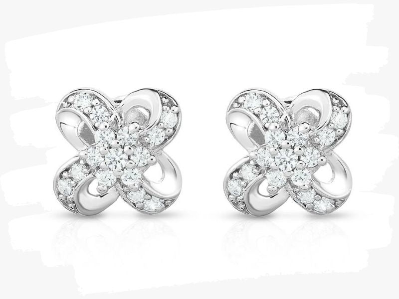 flower cluster white gold stud earrings