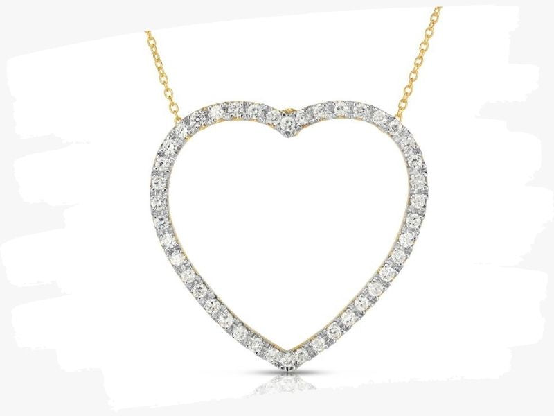 heart shaped gold pendant necklace with diamonds