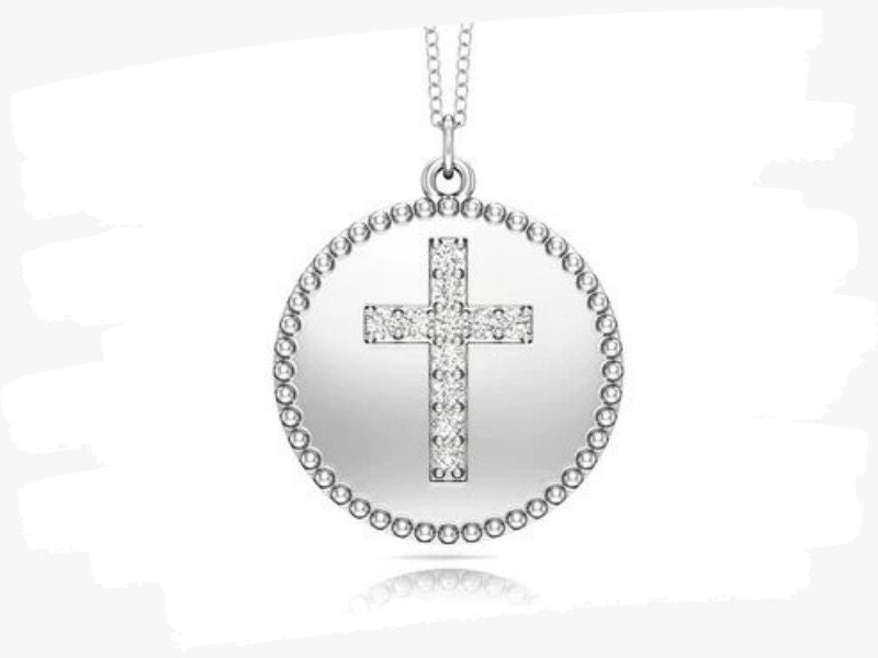 white gold cross disc pendant