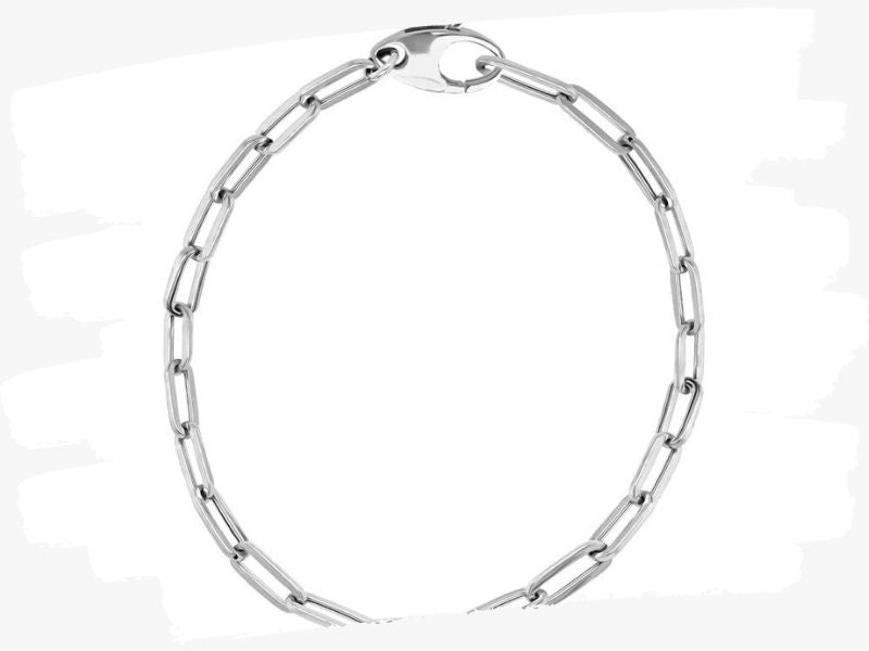 white gold link chain bracelet