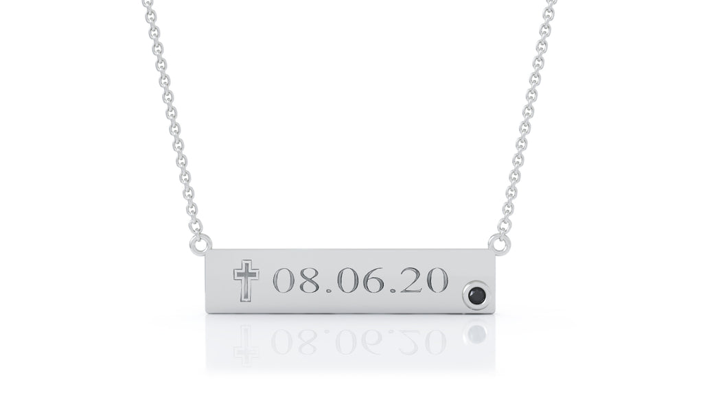 "14K Gold Engravable Bar Necklace, 17""-18"" / FREE ENGRAVING"