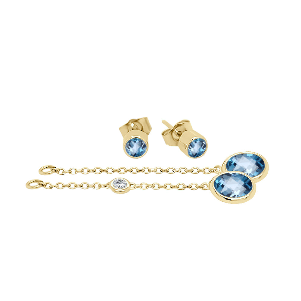 14K Gold Oval Shape Gemstone & Diamond (0.04 Ct, G-H Color, SI2-I1 Clarity) Mismatched Earring Set