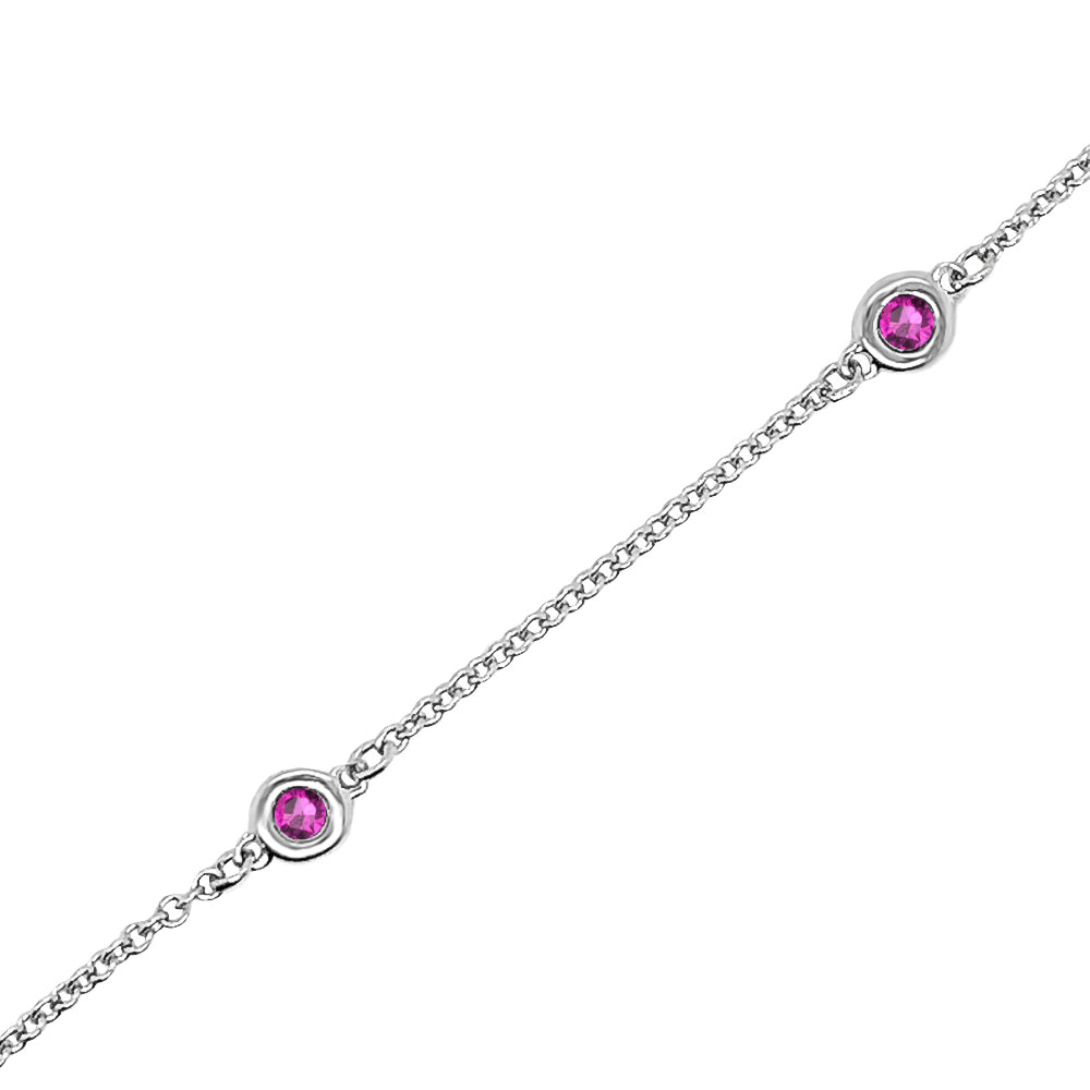 14K Gold 0.30 Ct Ruby 5 Station Bracelet, 7 Inches
