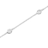 14K Gold Diamond (0.50 Ct, G-H Color, I1-I2 Clarity) 5 Station Bracelet, 7 Inches