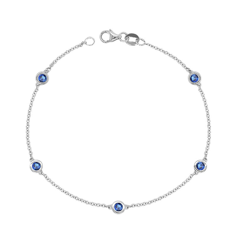 14K White Gold 0.60 Ct Blue Sapphire 5 Station Bracelet, 7 Inches